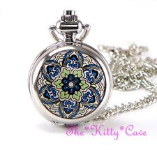 Miniature Silver Ethnic Mandala Pocket Half Hunter Steampunk Necklace Fob Watch