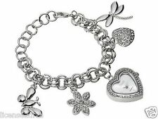 LADIES BRACELET HEART WATCH! CRYSTALS! SILVERTONE! LOBSTER CLASP! FREE SHIP! NEW