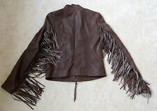 980£!PATRIZIA PEPE LEATHER SLIM CUT FRINGED SLEEVE JACKET SIZE 42(S)