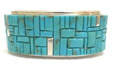 Beautiful Navajo Sterling Silver Turquoise Corn Row Inlay Bracelet - Signed