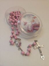 12-Baptism Favors Rosaries Cross Scented Pink Party Recuerdos de Bautizo Rosario