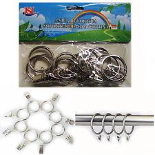 10pcs Silver Metal Curtain Pole Rings & Hooks Rail Bracket Rod Rings Hooks Pack