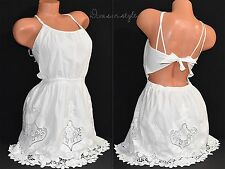 VICTORIA'S SECRET SEXY OPEN BACK LINED BEACH SUNDRESS FLORAL WHITE SZ SMALL S
