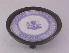 Antique Porcelain Purple Transferware Trivet Pewter Artichoke Footed