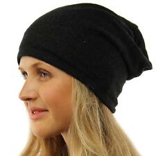 Unisex Speckled Lt Knit Thin Lined Slouch Long Beanie Skully Ski Hat Cap Black