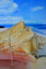 Swarovski Crystal & .925 Sterling Silver Bead Anklet or Bracelet 9 to 10 Inches