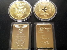 SET 4 X 1 OZ GOLD HITLER NAZI IRON CROSS BAR Reichsbank COIN SIGNATURE ADOLF