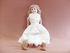 """ANTIQUE GERMAN PORCELAIN BISQUE HEAD LEATHER JOINTED CHILD DOLL 18"""""""