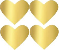 Gold Heart Stickers gold foil heart labels unprinted 35mm x 30mm  Pack of 100!