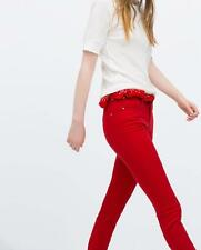 ZARA Rojo Skinny Jeans Pantalones Pantalones melocotón FINISH EUR 32/USA 00/UK 4/IT 36