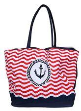 Damen Tasche Handtasche Henkeltasche Shopper Strandtasche Anker Rot Weiß Blau