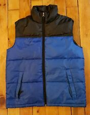 Steve & Barrys Double Down womens LARGE blue black puffer vest sleeveless