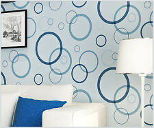 Modern Geometric Blue Circle/Ring On Textured Checked Net Double Roll Wallpaper