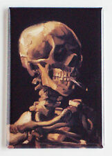 Skull with Burning Cigarette FRIDGE MAGNET (2 x 3 inches) van gogh smoking