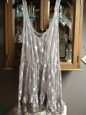 Top Shop sheer silver mesh tunic with dragon flies UK 10