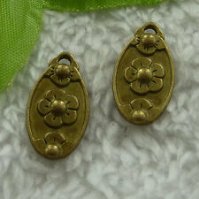 free ship 220 pieces bronze plated flower charms 21x12mm #3069