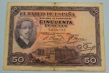 50 PESETAS 1927 SELLO REPUBLICA + SELLO SECO ALFONSO XIII BANKNOTE SPAIN SPANISH