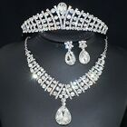 YT336 Clear Rhinestone Crystal Earrings Necklace Crown Set Bridal Party Gift