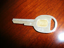 "Brilliant Chrome GM OLDSMOBILE Door Key Blank ""D"" & Gold Inlay Olds Rocket"