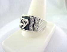 VERY COOL, STERLING, MEN'S RING W/ CZ'S AND ONYX SIZE 13, FREE SHIPPING