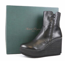 Robert Clergerie Charta 1163 Black Leather Wedge Platform Ankle Boots Size 10