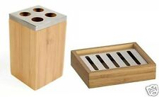 Set di 2 BAMBOO LEGNO Soap Dish Dente Spazzolino Holder Caddy Accessori Bagno