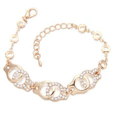 5pcs New Wholesale KC Gold Rhinestone Handcuffs Alloy Jewelry Chain Bracelet BS