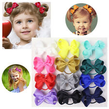 "New 12pc 3"" Girl baby Solid Grosgrain Ribbon Hair Bows elastic E008-1-20-L"