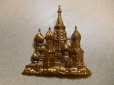 VIntage Signed JJ St Basil's Cathedral Red Square Russia Gold  Pin Brooch