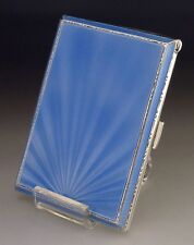 STUNNING ART DECO STERLING SILVER BLUE ENAMEL CIGARETTE CASE ANTIQUE 1941