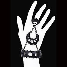 RESTYLE LUNAR GODDESS BRACELET W/ CONNECTED RING. MATTE BLACK. MOON PHASES.