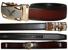 """Men's belt. Leather Dress/Casual Click Comfort Automatic Lock belt up to 50"""" New"""