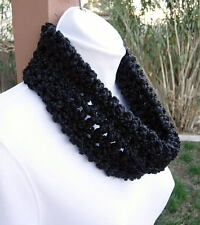 SUMMER COWL SCARF Solid Black Small Short Infinity Loop Handmade Crochet Knit