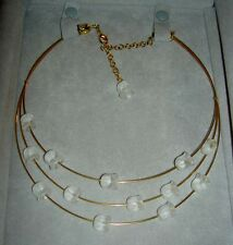 """LALIQUE """"MUGUET"""" Lily of the Valley Flower Crystal Gold Plated Necklace NIB"""