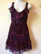 Be Bop Ruffled Dress V Neck Fit&Flare Elasticized Waist Tiered Hem Polyester  S