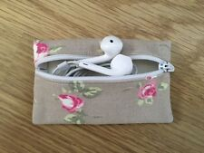 Handmade Earphone Earbud Zipped Case - Clarke and Clarke Rosebud Taupe Fabric
