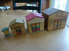 4 houses small nesting house wooden Japan doll house puzzle trinket box jewelry