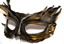Golden Bronze Feather Mask Handmade Leather Venetian Masquerade