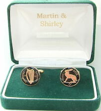 1933 IRISH Cufflinks made from old IRELAND Threepence coins in Black & Gold