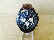 4 ROTARY MENS BLACK DIVERS WATCH BROWN LEATHER STRAP CHRONOGRAPH GS03908/04