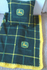JOHN DEERE GREEN SOFT -BABY-TODDLER-BLANKET-FLEECE-CROCHET-EDGE-PILLOW-CASE