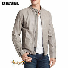 DIESEL LAGNUM LEATHER JACKET STONE NEW $598 Sz L