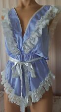 VINTAGE BLUEBERRY NYLON & IVORY RUFFLED LACE TEDDY/ BEDROOM ROMPER M/L