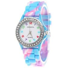 Geneva Multicolour Blue Pink Rainbow Ladies Girl Silicone Watch Rhinestone