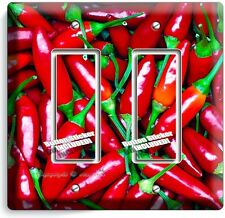HOT RED CHILI PEPPERS DOUBLE GFI LIGHT SWITCH WALL PLATE COVER KITCHEN ART DECOR