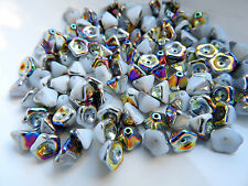 Czech flower trumpet cup glass white rainbow beads 6 x 8 mm pack of 20