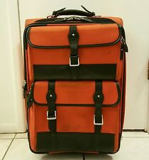 "RALPH LAUREN POLO 21"" Rare Orange Wheeled Rolling Suitcase Carry On Luggage"