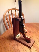 Solid Walnut Wood Folding Cap & Ball Revolver Loading Gun Stand and Display