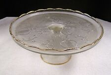 Jeannette Glass Cake Stand Harp Gold Trim Scalloped Ruffles Pedestal Plate Clear