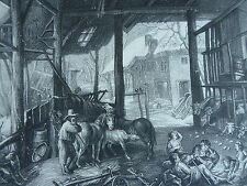 RUBENS gravure originale UNE ETABLE EN HIVER 1858 FOURMOIS